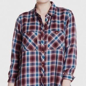 • LUCKY BRAND • plaid button down flannel top